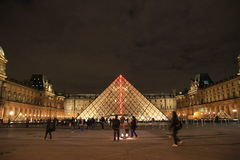 The louvre museum by night, Paris, France Royalty Free Stock Photography