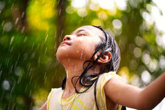 Lttle girl in the rain Royalty Free Stock Image