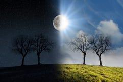 Luce della luna e luce solare Fotografie Stock Libere da Diritti
