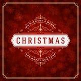Luces y copos de nieve de la tarjeta de felicitación de la Navidad Fotografía de archivo