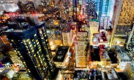 Luci notturne di New York City Fotografia Stock
