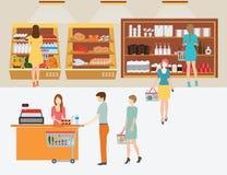 Ludzie w supermarketa sklepie spożywczym z zakupów koszami Zdjęcia Royalty Free