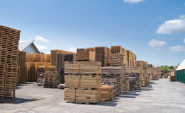 Lumber Yard and Pallets Stock Images