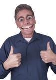 Lustiger Mann mit großem glücklichem Lächeln auf Gesicht Stockbild