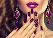 Luxury fashion style, nails manicure. Royalty Free Stock Images