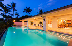 Luxury Home with Pool at Sunset Stock Images