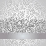 Luxury silver leaves lace border and background Stock Photo