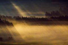 Mañana temprana del otoño de la persona chapada a la antigua en la frontera austríaca checa Foto de archivo libre de regalías