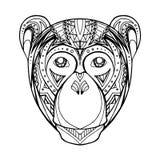 Macaco da garatuja da ilustração e teste padrão do boho Fotos de Stock Royalty Free
