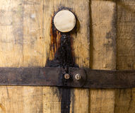 Macro shot of bung in wooden bourbon barrel Royalty Free Stock Photography