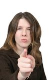 Mad Woman - Pointing Finger Stock Photos
