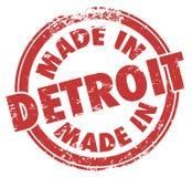 Made in Detroit Words Red Ink Stamp Grunge Badge Emblem Logo Royalty Free Stock Image