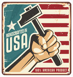Made in USA retro metal sign Stock Photo