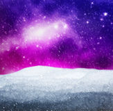Magical winter landscape. Snow, sky with glowing stars. Stock Photos