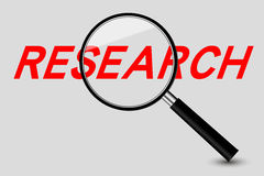 Magnifier and Research word Royalty Free Stock Photos
