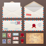 Mail Envelope, Stickers, Stamps, Postcard Stock Photography