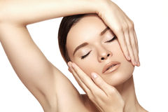 Make-up, spa & cosmetics. Beautiful woman model face with clean skin Royalty Free Stock Image