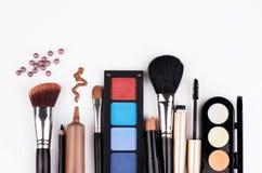 Makeup brush and cosmetics Royalty Free Stock Photos
