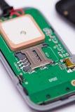 Makroansicht des SIM-Karten-Platzes für Einsatz Stockbilder