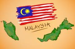 Malaysia Map and National Flag Vector Stock Photos