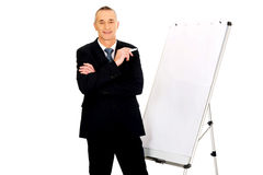 Male executive standing near flip chart Royalty Free Stock Images