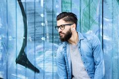 Male fashion model with beard and glasses Royalty Free Stock Photography