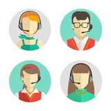 Male and female call center avatars in a flat style with a headset, conceptual of communication. Vector icons set Stock Photos