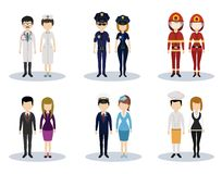 Male and female professional character vector set Stock Photography