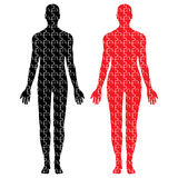 Male and female puzzle bodies Stock Photography