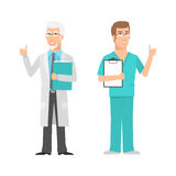 Males scientist and doctor showing thumbs up Royalty Free Stock Images