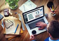 Man Analysis Business Accounting on Laptop Stock Photo