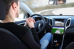Man in a Autonomous driving  test vehicle Royalty Free Stock Image