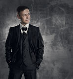 Man in black suit. Wedding groom fashion portrait Royalty Free Stock Photography