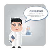 Man chemist and a text bubble Royalty Free Stock Images
