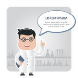 Man chemist and a text bubble Stock Photography