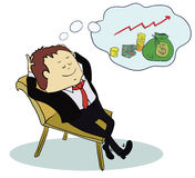 Man dream about money. Concept cartoon Royalty Free Stock Photo