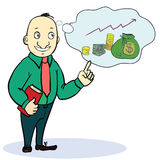 Man dream about money. Concept cartoon Royalty Free Stock Images