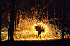Man and fire orb Royalty Free Stock Photo