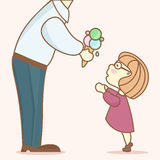 The man gives the child a large portion of ice cream Stock Photography