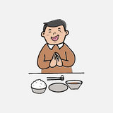 Man have meal with rice Stock Images