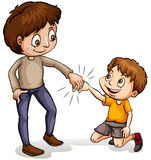 A man helping a young boy Royalty Free Stock Photography