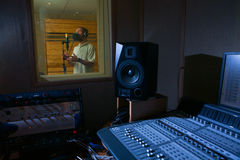 Man in the music studio Royalty Free Stock Photo