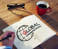 Man with a Note and Global Communications Concept Stock Photo
