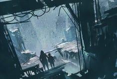 Man- och pojkeanseende som ut ser på den förstörda staden med snöstormen Arkivfoto