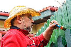 Man painting fence Stock Images