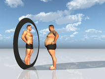 Man sees other self in mirror Royalty Free Stock Image