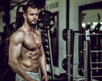 Man showing abs in gym Stock Images