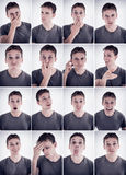 Man showing different emotions or expressions Royalty Free Stock Photos