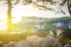 A man sleeping in sleeping bag Stock Photography