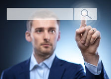 Man touch search button Stock Image